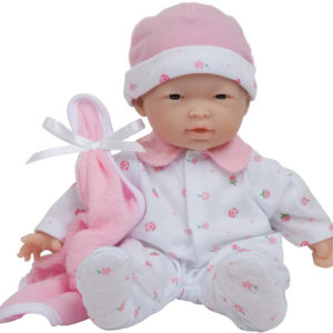 JC Toys La Baby 11-inch Washable Soft Body Asian Baby Doll with Pink outfit and Accessories