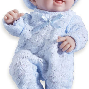 "Mini La Newborn Boutique - Realistic 9.5"" Anatomically Correct Real Boy Baby Doll dressed in BLUE - All Vinyl Open Mouth"